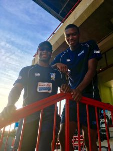 Lungi Ngidi (Right) with fellow Titan Junior Dala Photo by: Erika Southey